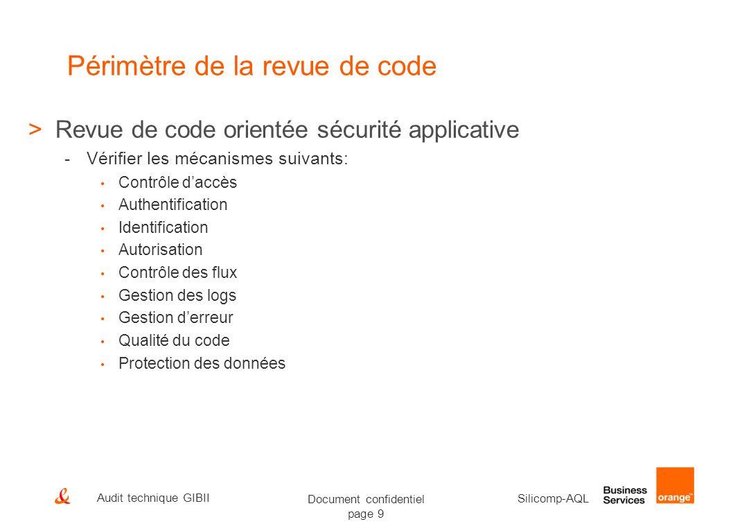 Document confidentiel page 9 Silicomp-AQL Audit technique GIBII Périmètre de la revue de code >Revue de code orientée sécurité applicative -Vérifier l