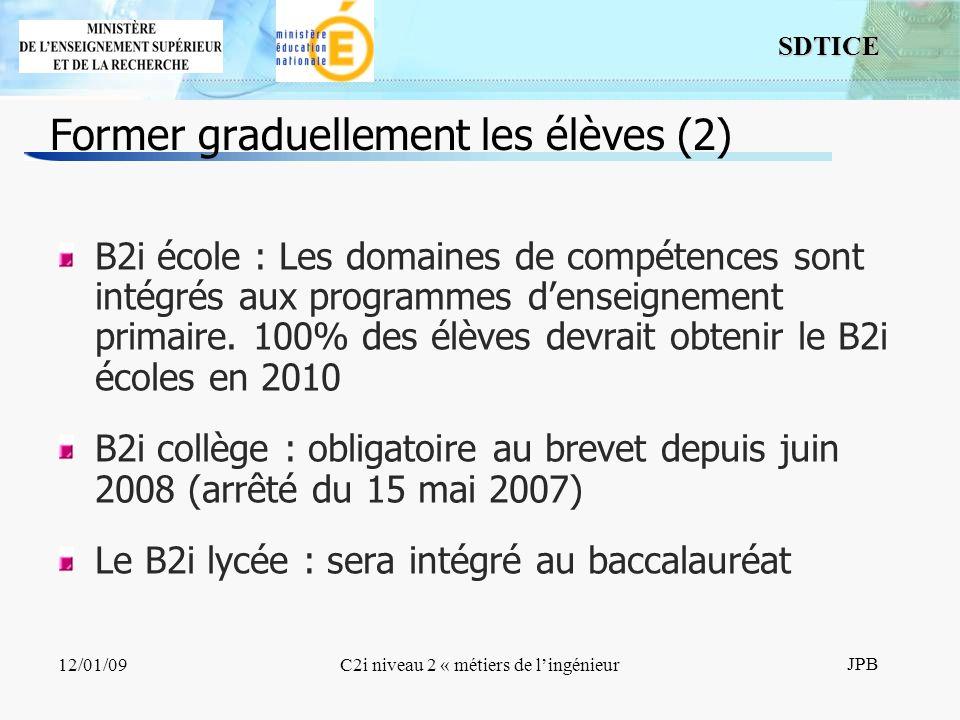 12 SDTICE JPB 12/01/09C2i niveau 2 « métiers de lingénieur B2i école : Les domaines de compétences sont intégrés aux programmes denseignement primaire.