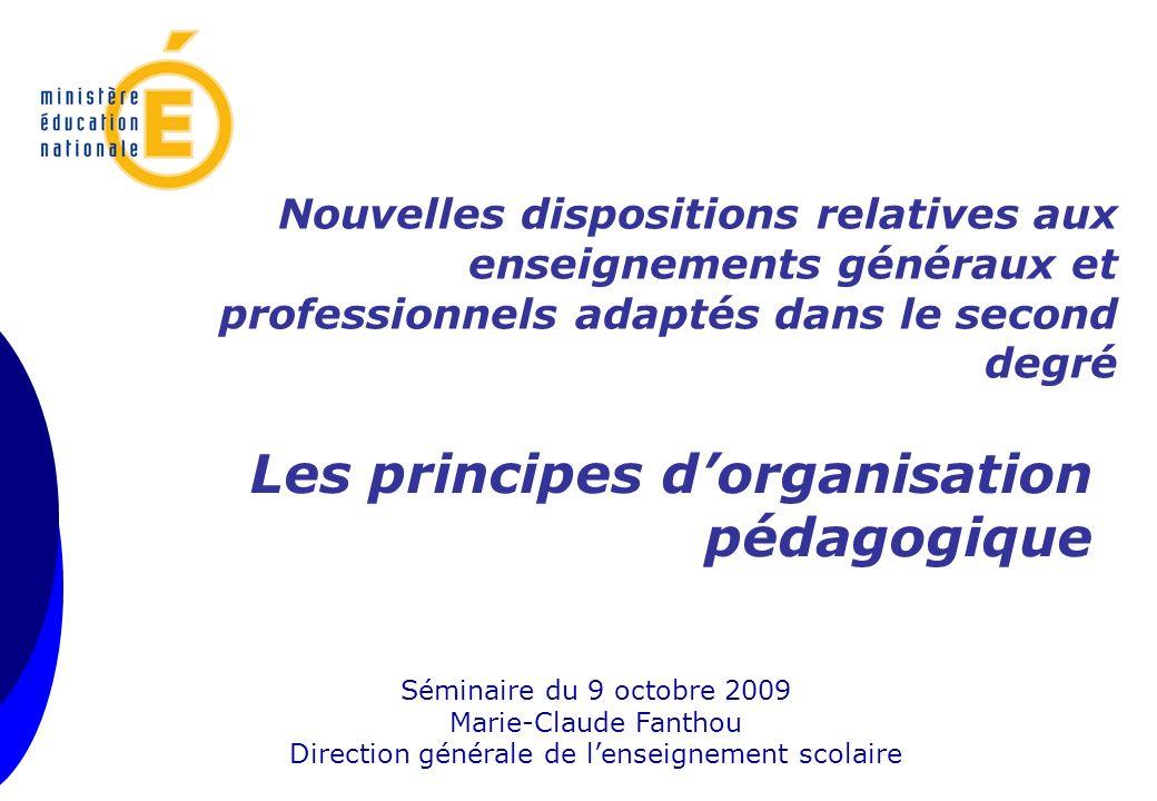 Séminaire du 9 octobre 2009 Marie-Claude Fanthou Direction générale de lenseignement scolaire Les principes dorganisation pédagogique Nouvelles dispos