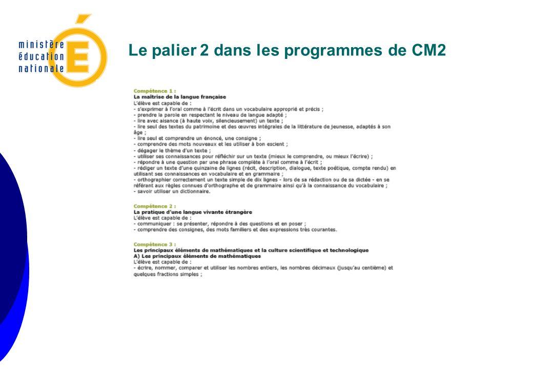 Le palier 2 dans les programmes de CM2