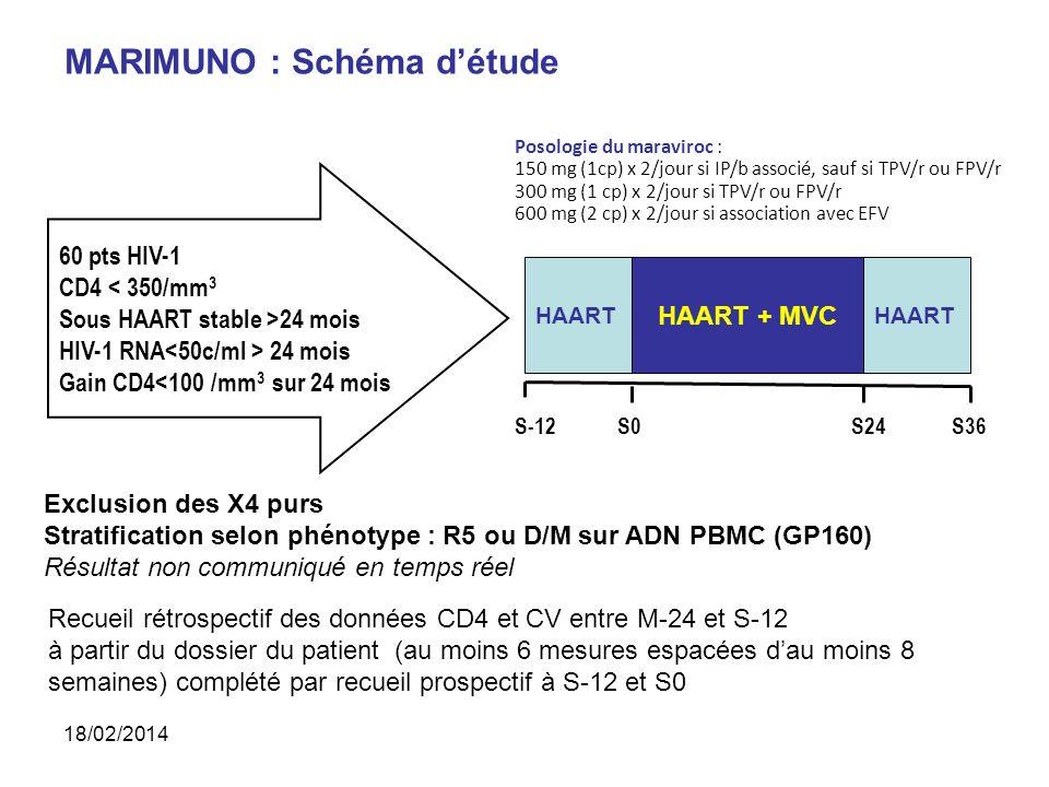 Exclusion des X4 purs Stratification selon phénotype : R5 ou D/M sur ADN PBMC (GP160) Résultat non communiqué en temps réel Recueil rétrospectif des données CD4 et CV entre M-24 et S-12 à partir du dossier du patient (au moins 6 mesures espacées dau moins 8 semaines) complété par recueil prospectif à S-12 et S0 60 pts HIV-1 CD4 < 350/mm 3 Sous HAART stable >24 mois HIV-1 RNA 24 mois Gain CD4<100 /mm 3 sur 24 mois S36S-12S0S24 HAART HAART + MVC HAART MARIMUNO : Schéma détude Posologie du maraviroc : 150 mg (1cp) x 2/jour si IP/b associé, sauf si TPV/r ou FPV/r 300 mg (1 cp) x 2/jour si TPV/r ou FPV/r 600 mg (2 cp) x 2/jour si association avec EFV 18/02/2014