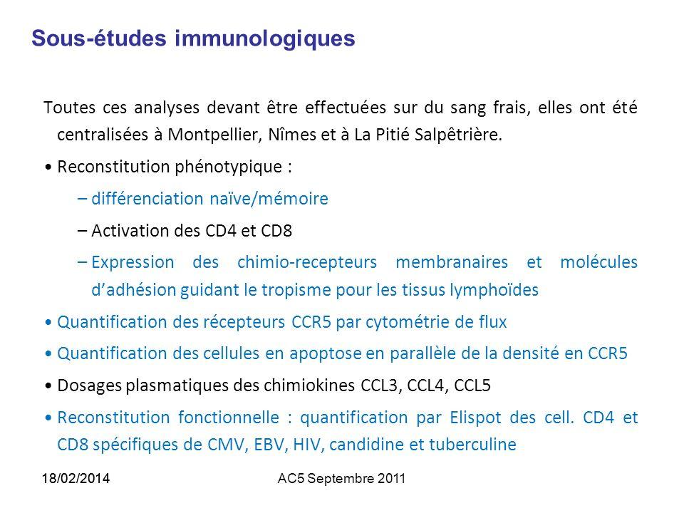 Sous-études immunologiques Toutes ces analyses devant être effectuées sur du sang frais, elles ont été centralisées à Montpellier, Nîmes et à La Pitié Salpêtrière.