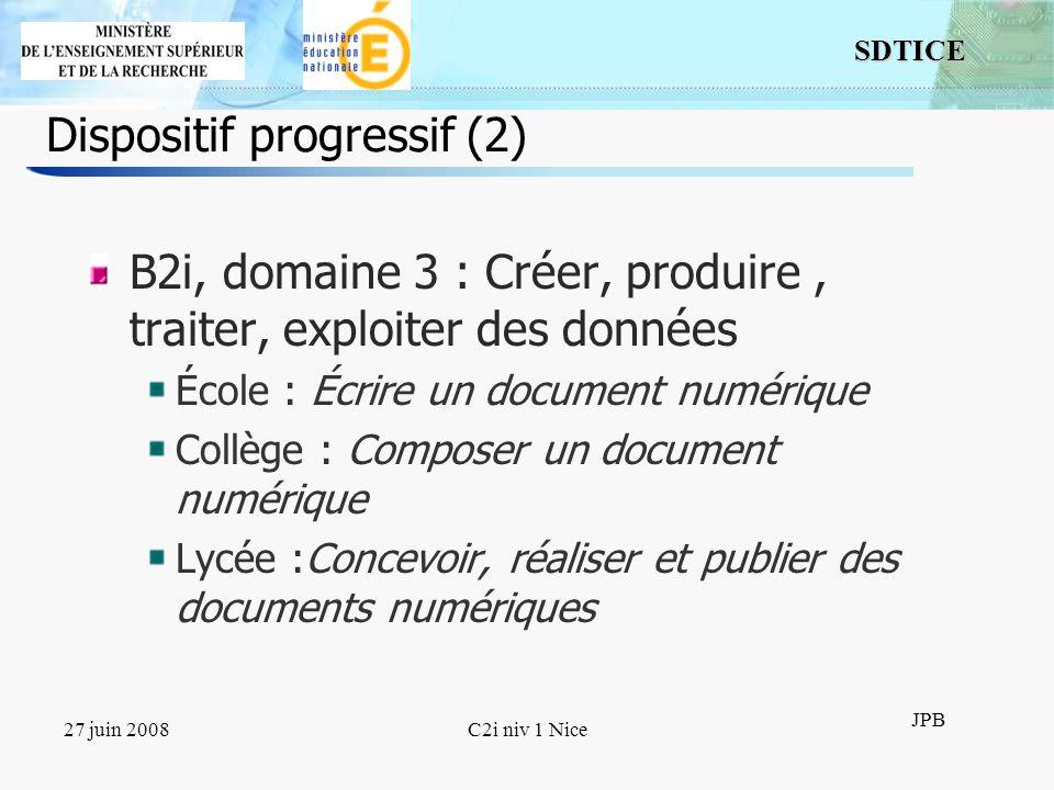 11 SDTICE JPB 27 juin 2008C2i niv 1 Nice Dispositif progressif (2) B2i, domaine 3 : Créer, produire, traiter, exploiter des données École : Écrire un