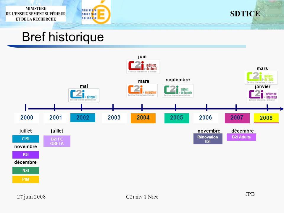 15 SDTICE JPB 27 juin 2008C2i niv 1 Nice Les C2i niveau 2 Rupture par rapport aux précédents Par branches professionnelles Compétences transversales nécessaires à lentrée dans le métier Compétences spécifiques traitées dans le cadre du métier