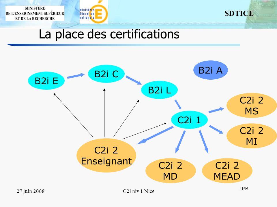 6 SDTICE JPB 27 juin 2008C2i niv 1 Nice Les référentiels Pour les B2i : cinq domaines Pour le C2i niveau 1 : neuf domaines Les domaines recouvrent le même type de compétences