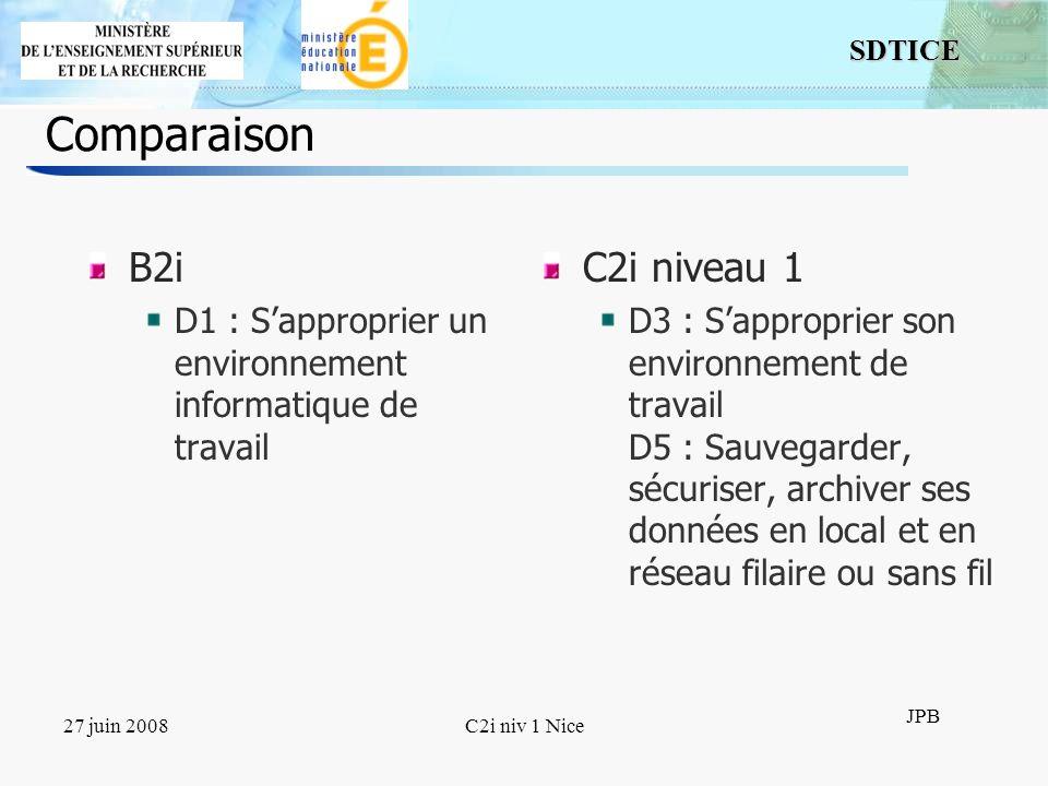 8 SDTICE JPB 27 juin 2008C2i niv 1 Nice Comparaison (2) B2i D2 : Adopter une attitude responsable D3 : Créer, produire, traiter, exploiter des données C2i niveau 1 D1 : Tenir compte du caractère évolutif des TIC D2 : Intégrer la dimension éthique et le respect de la déontologie D6 : Réaliser des documents destinés à être imprimés D7 : Réaliser la présentation de ses travaux en présentiel et en ligne