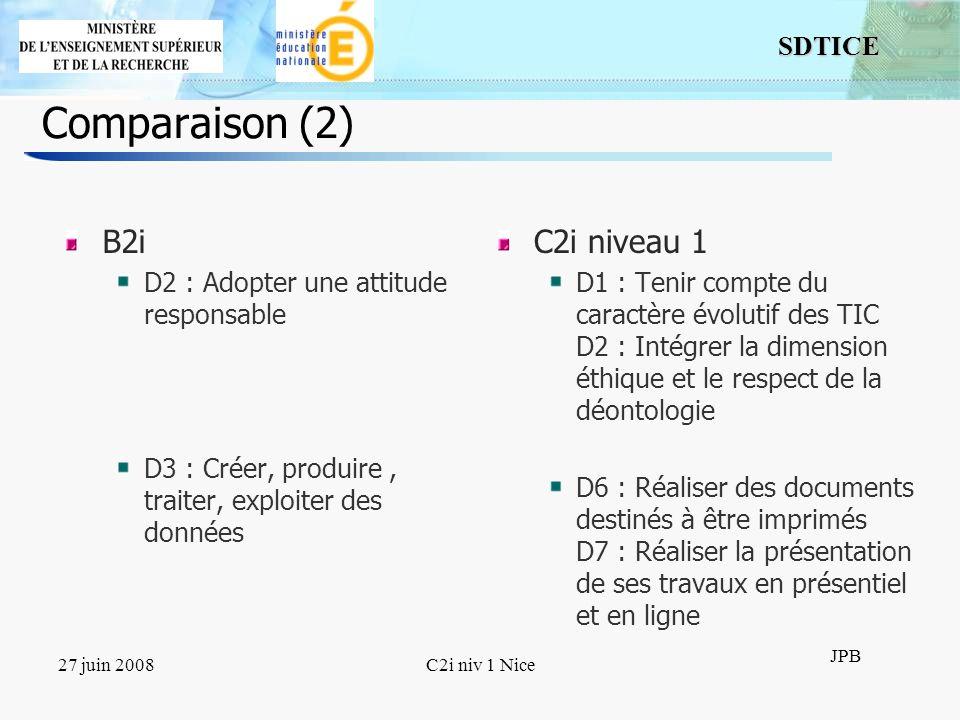 9 SDTICE JPB 27 juin 2008C2i niv 1 Nice Comparaison (3) B2i D4 : Sinformer, se documenter D5 : Communiquer, échanger C2i niveau 1 D4 : Rechercher linformation D8 : Échanger et communiquer à distance D9 : Mener des projets en travail collaboratif à distance