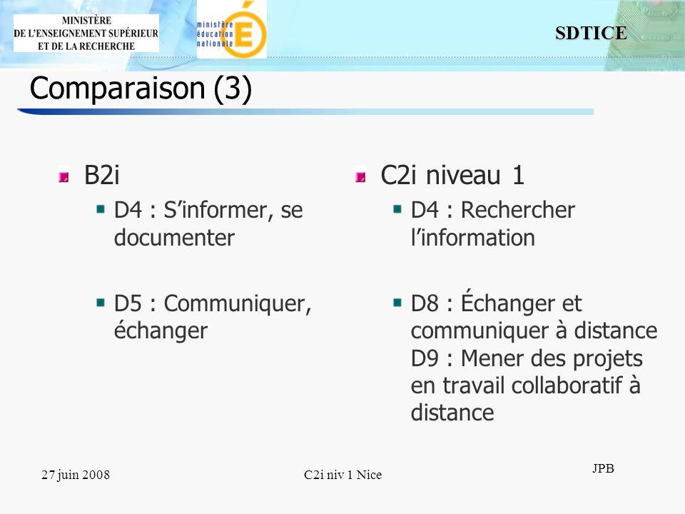9 SDTICE JPB 27 juin 2008C2i niv 1 Nice Comparaison (3) B2i D4 : Sinformer, se documenter D5 : Communiquer, échanger C2i niveau 1 D4 : Rechercher linf