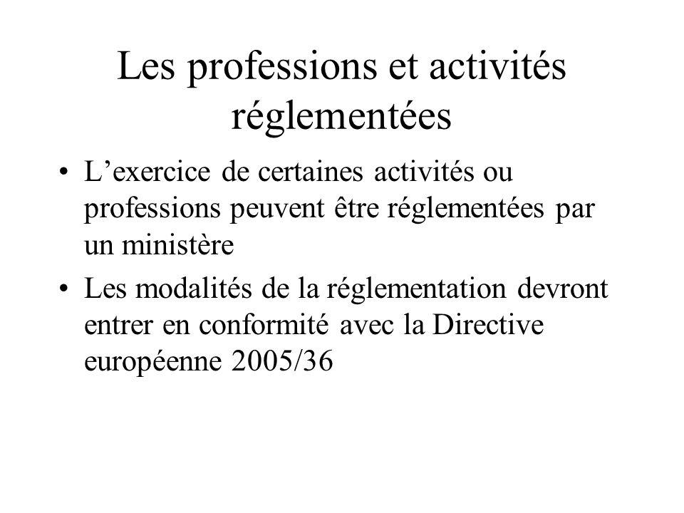 Les professions et activités réglementées Lexercice de certaines activités ou professions peuvent être réglementées par un ministère Les modalités de