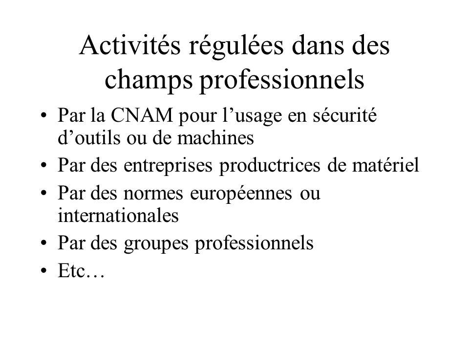 Activités régulées dans des champs professionnels Par la CNAM pour lusage en sécurité doutils ou de machines Par des entreprises productrices de matér