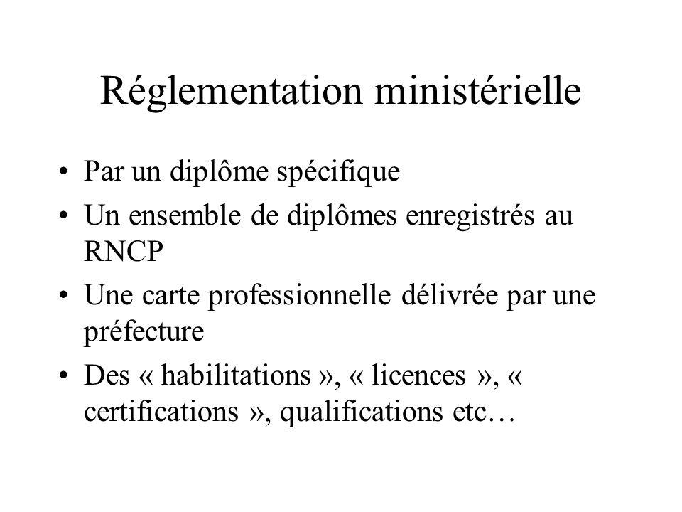 Réglementation ministérielle Par un diplôme spécifique Un ensemble de diplômes enregistrés au RNCP Une carte professionnelle délivrée par une préfectu