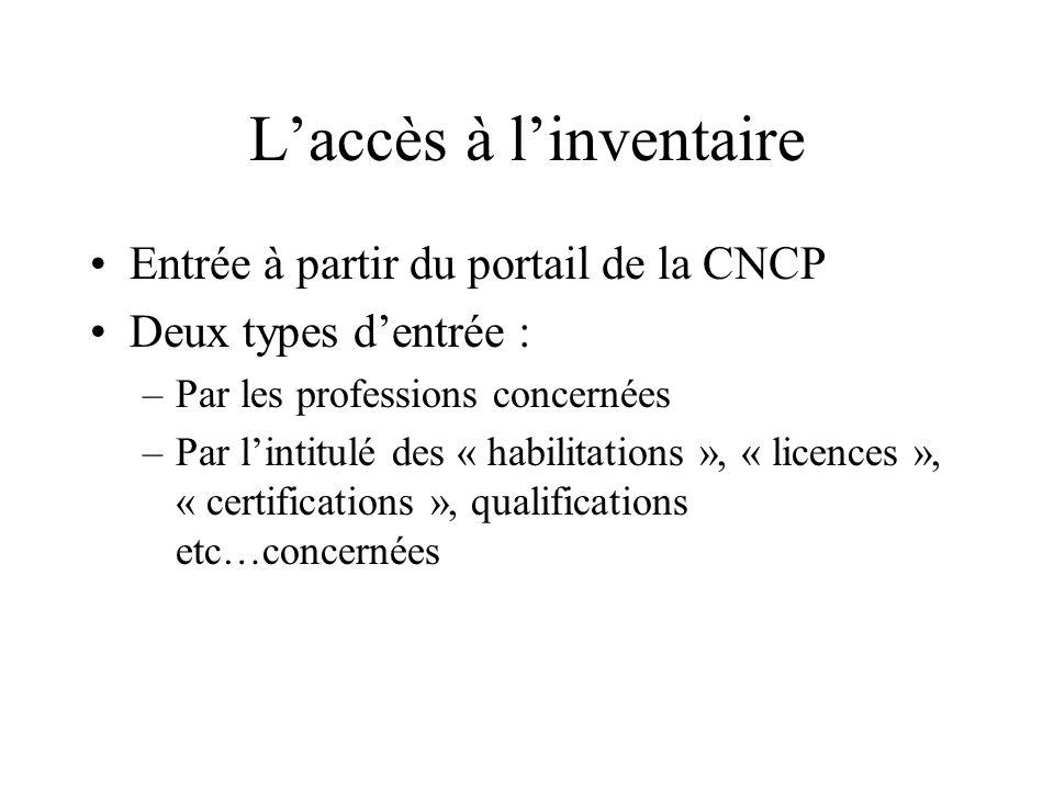 Laccès à linventaire Entrée à partir du portail de la CNCP Deux types dentrée : –Par les professions concernées –Par lintitulé des « habilitations »,