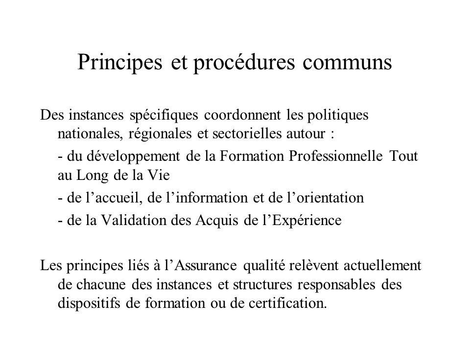 Principes et procédures communs Des instances spécifiques coordonnent les politiques nationales, régionales et sectorielles autour : - du développemen