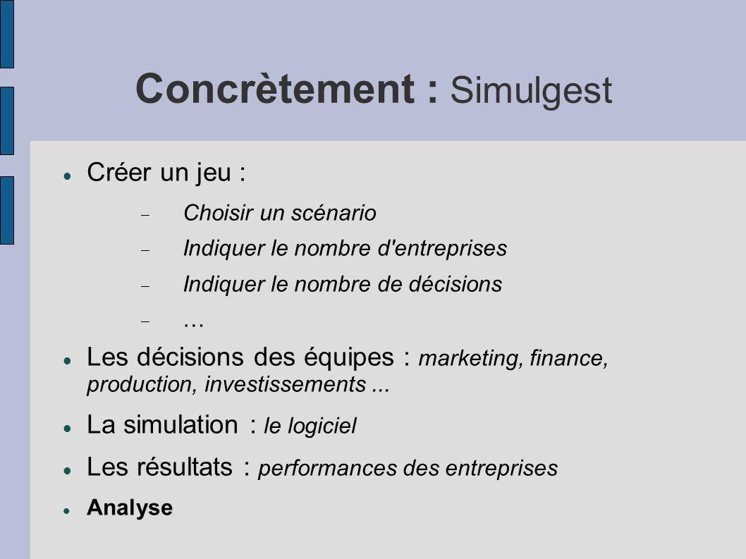 Concrètement : Simulgest Créer un jeu : Choisir un scénario Indiquer le nombre d'entreprises Indiquer le nombre de décisions … Les décisions des équip