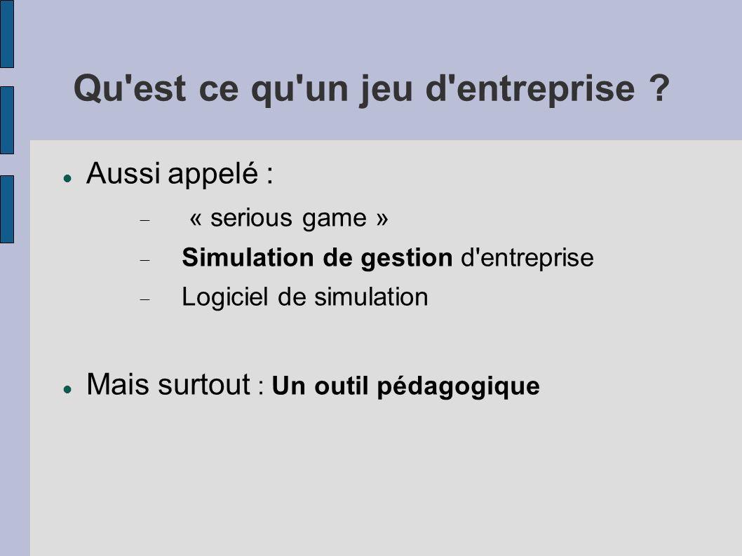 Qu'est ce qu'un jeu d'entreprise ? Aussi appelé : « serious game » Simulation de gestion d'entreprise Logiciel de simulation Mais surtout : Un outil p