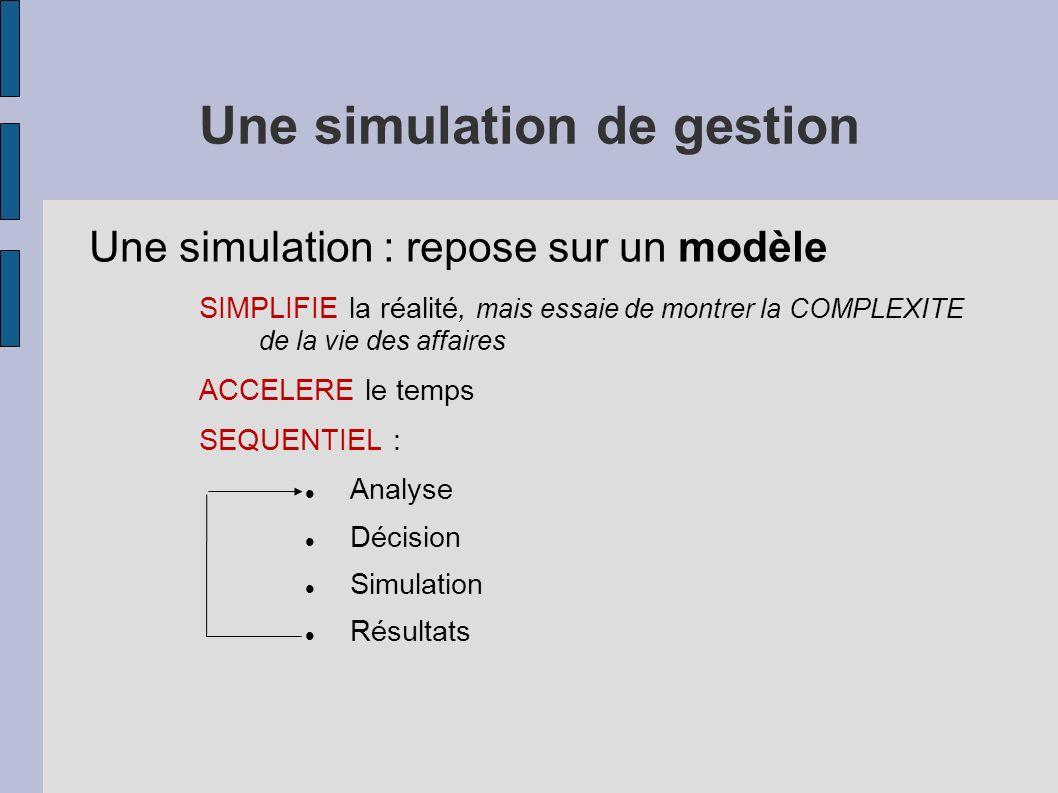 Une simulation de gestion Une simulation : repose sur un modèle SIMPLIFIE la réalité, mais essaie de montrer la COMPLEXITE de la vie des affaires ACCE