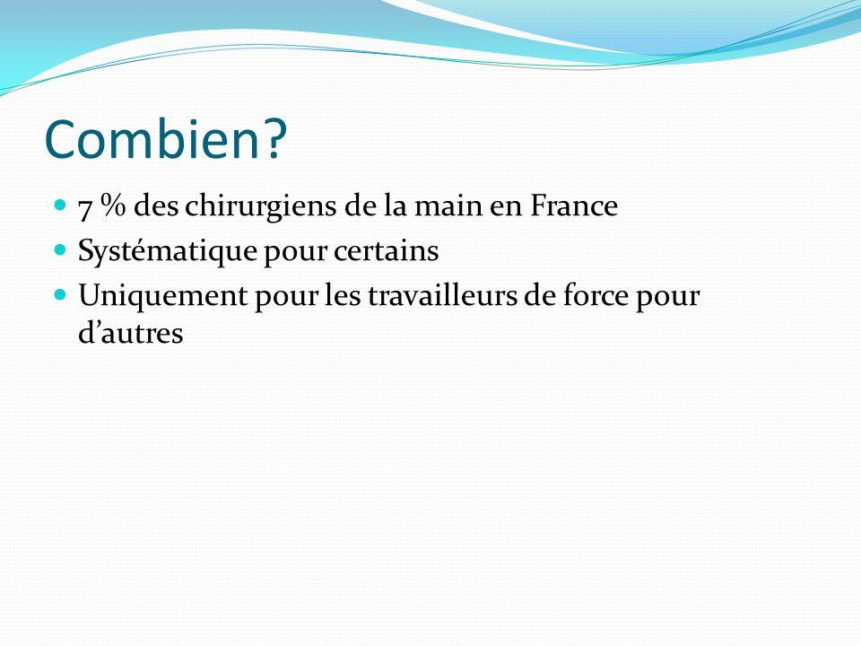 Combien? 7 % des chirurgiens de la main en France Systématique pour certains Uniquement pour les travailleurs de force pour dautres