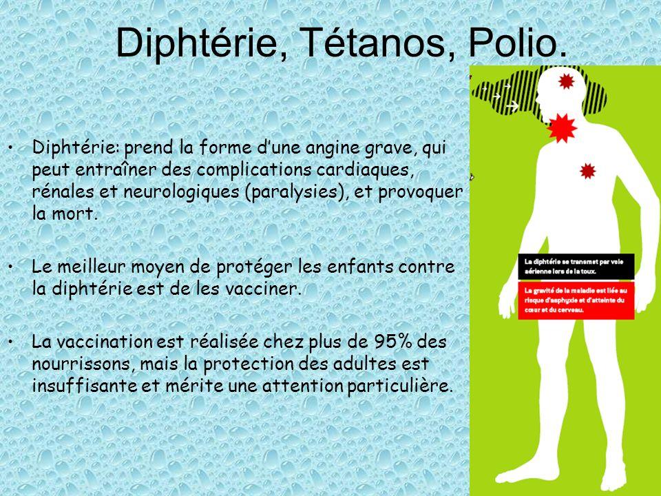 Diphtérie, Tétanos, Polio. Diphtérie: prend la forme dune angine grave, qui peut entraîner des complications cardiaques, rénales et neurologiques (par