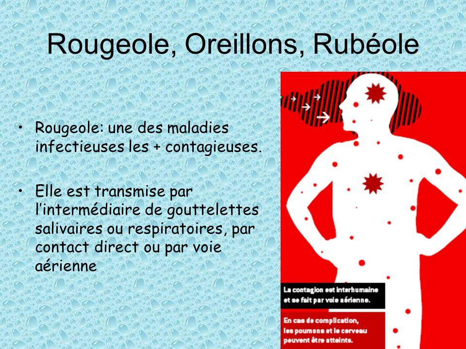 Rougeole, Oreillons, Rubéole Rougeole: une des maladies infectieuses les + contagieuses. Elle est transmise par lintermédiaire de gouttelettes salivai