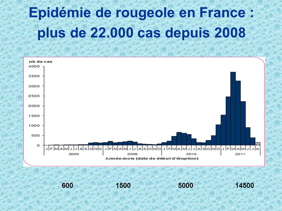 Epidémie de rougeole en France : plus de 22.000 cas depuis 2008 600 1500 5000 14500