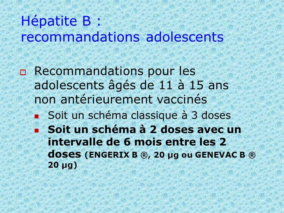 Hépatite B : recommandations adolescents Recommandations pour les adolescents âgés de 11 à 15 ans non antérieurement vaccinés Soit un schéma classique