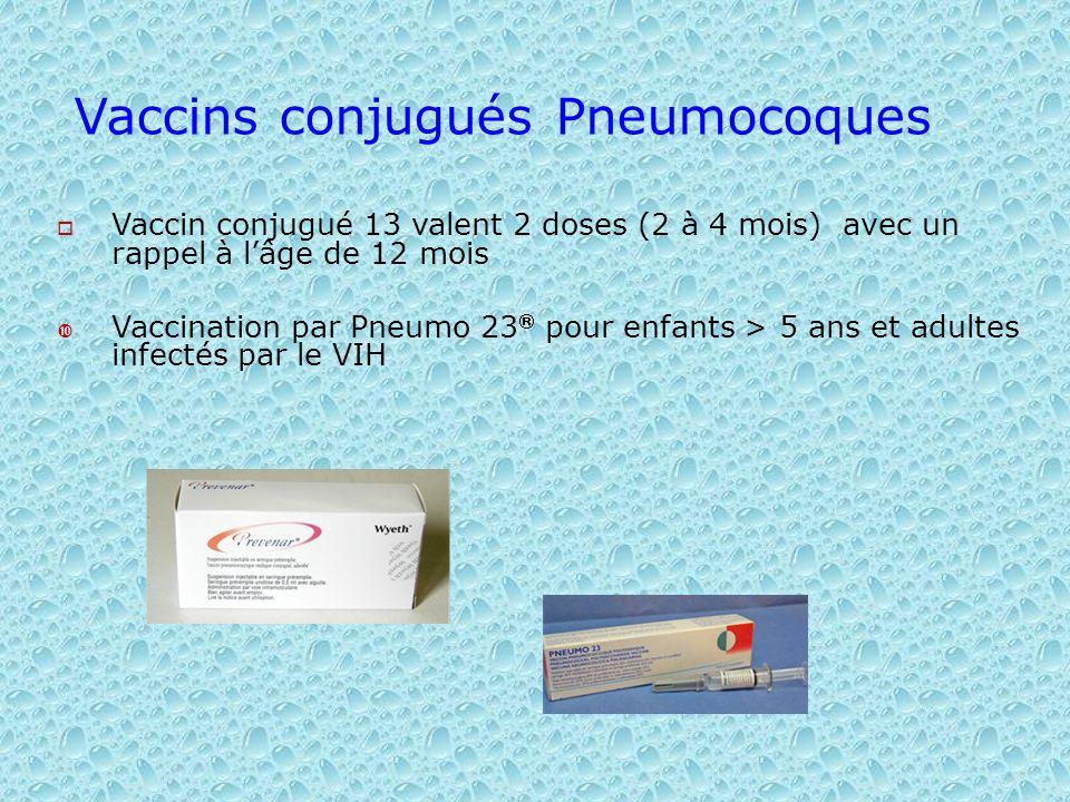 Vaccins conjugués Pneumocoques Vaccin conjugué 13 valent 2 doses (2 à 4 mois) avec un rappel à lâge de 12 mois Vaccination par Pneumo 23 pour enfants