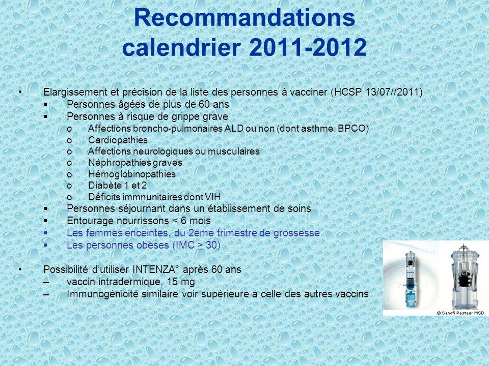 Recommandations calendrier 2011-2012 Elargissement et précision de la liste des personnes à vacciner (HCSP 13/07//2011) Personnes âgées de plus de 60