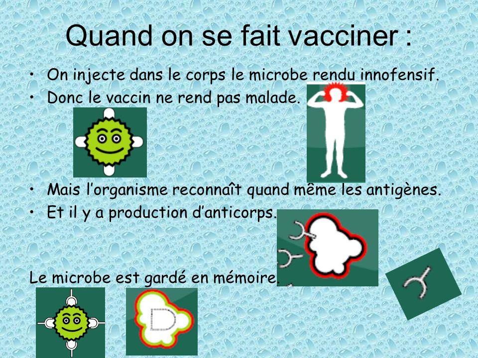 Quand on se fait vacciner : On injecte dans le corps le microbe rendu innofensif. Donc le vaccin ne rend pas malade. Mais lorganisme reconnaît quand m