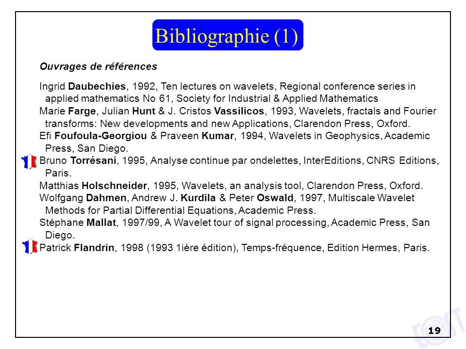 19 Bibliographie (1) Ouvrages de références Ingrid Daubechies, 1992, Ten lectures on wavelets, Regional conference series in applied mathematics No 61