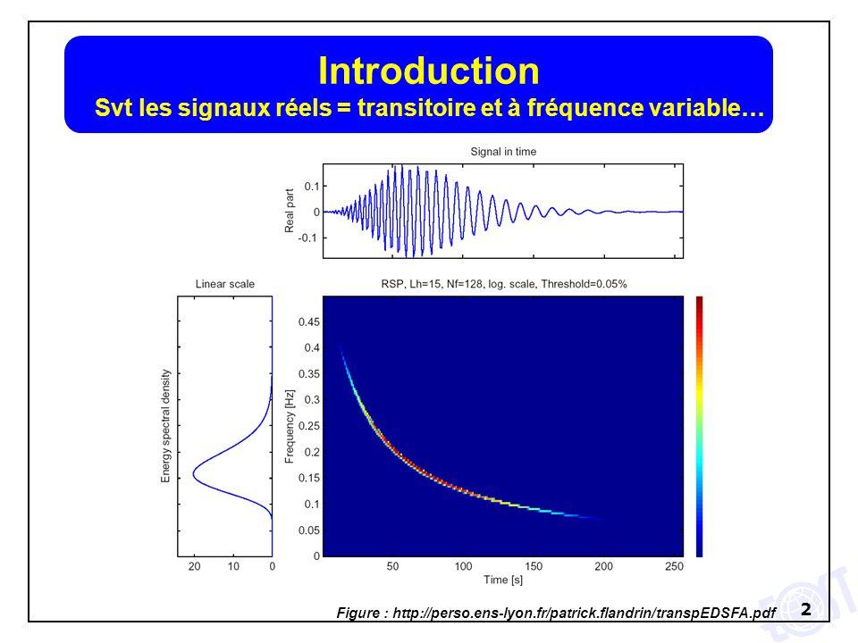 3 Introduction Svt les signaux réels = transitoire et à fréquence variable… Figure : http://www.isteem.univ-montp2.fr/LGHF/equip/gaillot/PDF_these/TM.html Jean Ville (Théorie et applications du signal analytique, Câbles et transmissions 2, 1948, 61-74) :