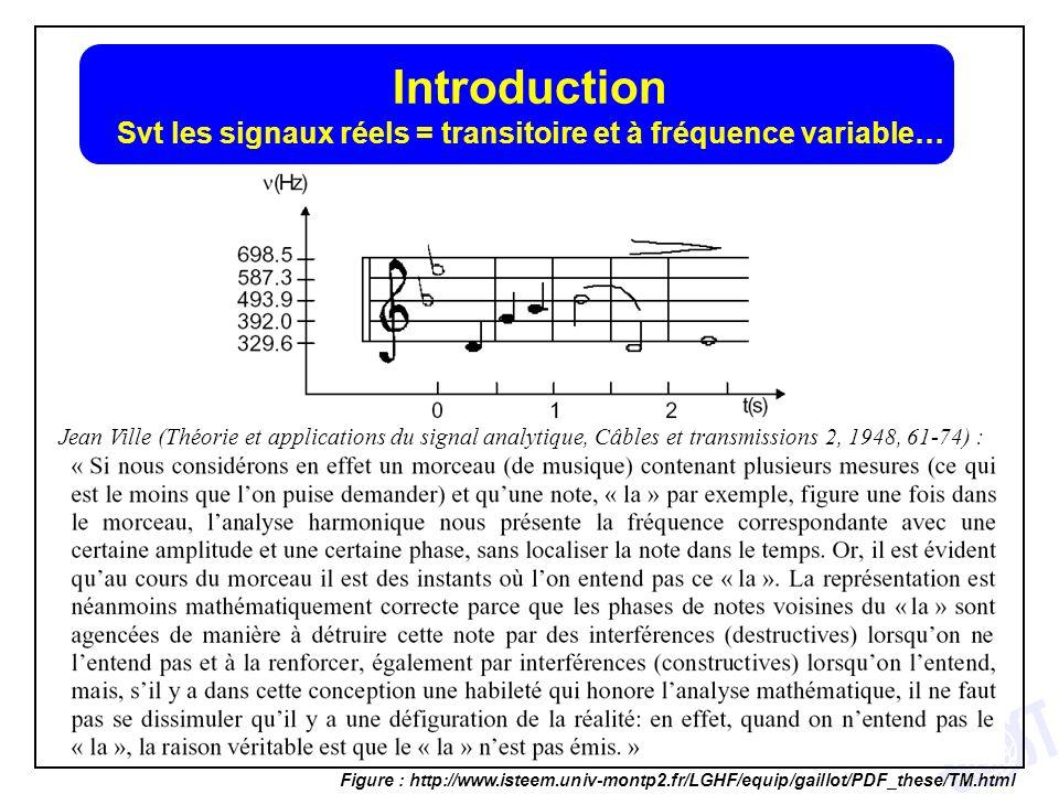 3 Introduction Svt les signaux réels = transitoire et à fréquence variable… Figure : http://www.isteem.univ-montp2.fr/LGHF/equip/gaillot/PDF_these/TM.
