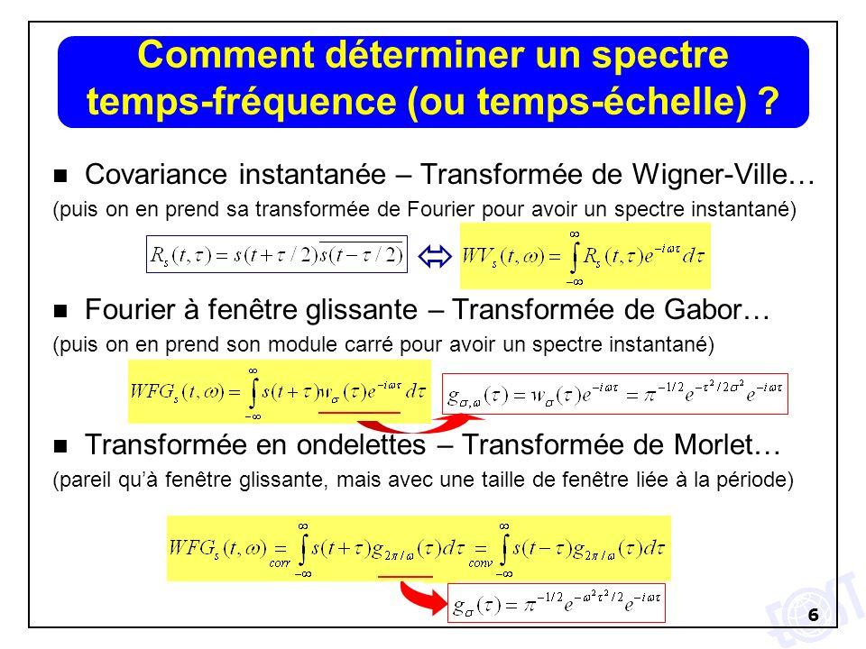 6 n Covariance instantanée – Transformée de Wigner-Ville… (puis on en prend sa transformée de Fourier pour avoir un spectre instantané) n Fourier à fe