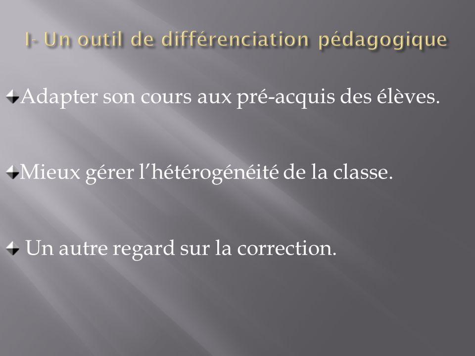 Adapter son cours aux pré-acquis des élèves. Mieux gérer lhétérogénéité de la classe. Un autre regard sur la correction.
