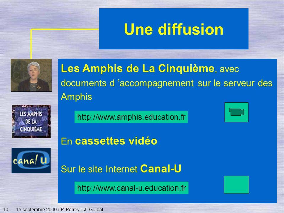 1015 septembre 2000 / P. Perrey - J. Guibal Une diffusion Les Amphis de La Cinquième, avec documents d accompagnement sur le serveur des Amphis En cas