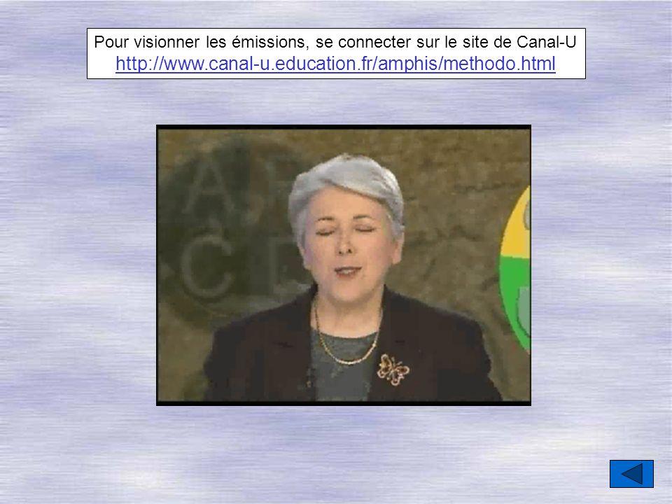 Pour visionner les émissions, se connecter sur le site de Canal-U http://www.canal-u.education.fr/amphis/methodo.html
