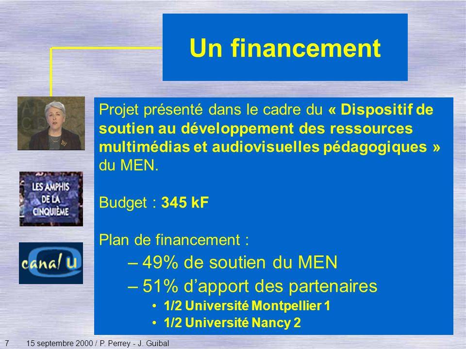 715 septembre 2000 / P. Perrey - J. Guibal Un financement Projet présenté dans le cadre du « Dispositif de soutien au développement des ressources mul