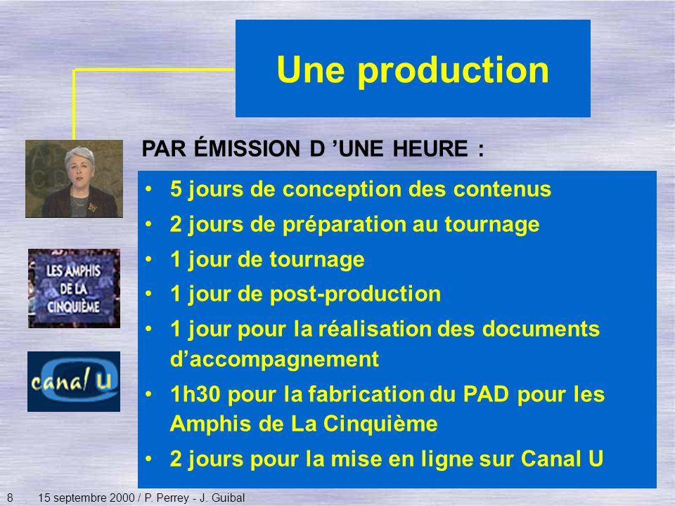 815 septembre 2000 / P. Perrey - J. Guibal Une production PAR ÉMISSION D UNE HEURE : 5 jours de conception des contenus 2 jours de préparation au tour