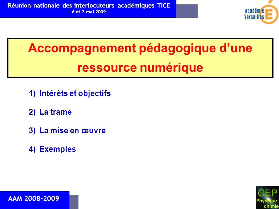 Accompagnement pédagogique dune ressource numérique Réunion nationale des interlocuteurs académiques TICE 6 et 7 mai 2009 AAM 2008-2009 1)Intérêts et objectifs 2)La trame 3)La mise en œuvre 4)Exemples