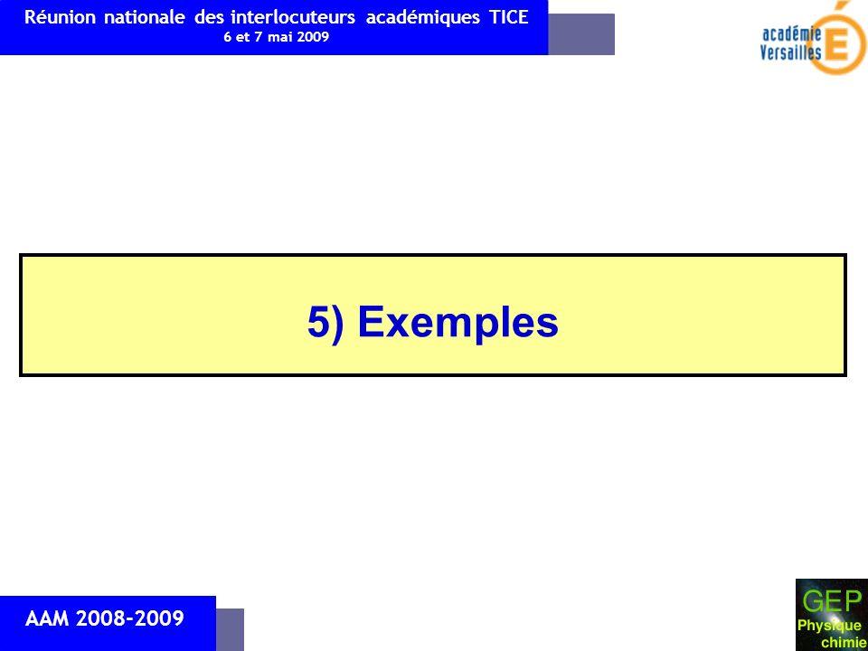 5) Exemples AAM 2008-2009 Réunion nationale des interlocuteurs académiques TICE 6 et 7 mai 2009
