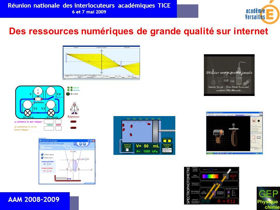Des ressources numériques de grande qualité sur internet AAM 2008-2009 Réunion nationale des interlocuteurs académiques TICE 6 et 7 mai 2009