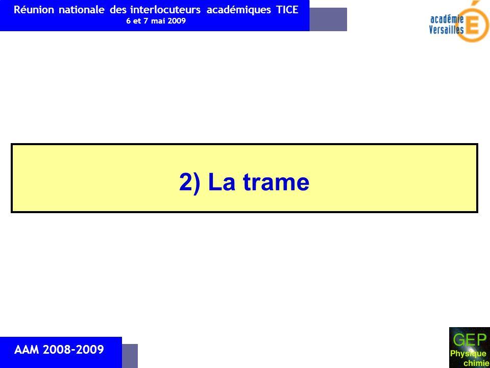 2) La trame AAM 2008-2009 Réunion nationale des interlocuteurs académiques TICE 6 et 7 mai 2009