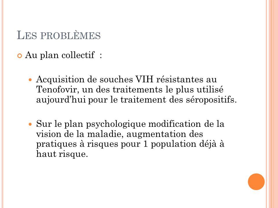 L ES PROBLÈMES Au plan collectif : Acquisition de souches VIH résistantes au Tenofovir, un des traitements le plus utilisé aujourdhui pour le traitement des séropositifs.