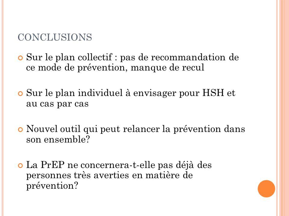 CONCLUSIONS Sur le plan collectif : pas de recommandation de ce mode de prévention, manque de recul Sur le plan individuel à envisager pour HSH et au cas par cas Nouvel outil qui peut relancer la prévention dans son ensemble.