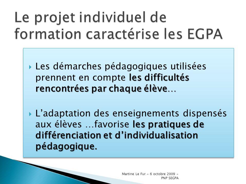 Martine Le Fur - 6 octobre 2009 - PNP SEGPA les difficultés rencontrées par chaque élève… Les démarches pédagogiques utilisées prennent en compte les