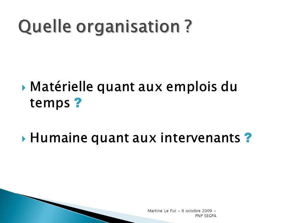 Martine Le Fur - 6 octobre 2009 - PNP SEGPA Matérielle quant aux emplois du temps ? Humaine quant aux intervenants ?
