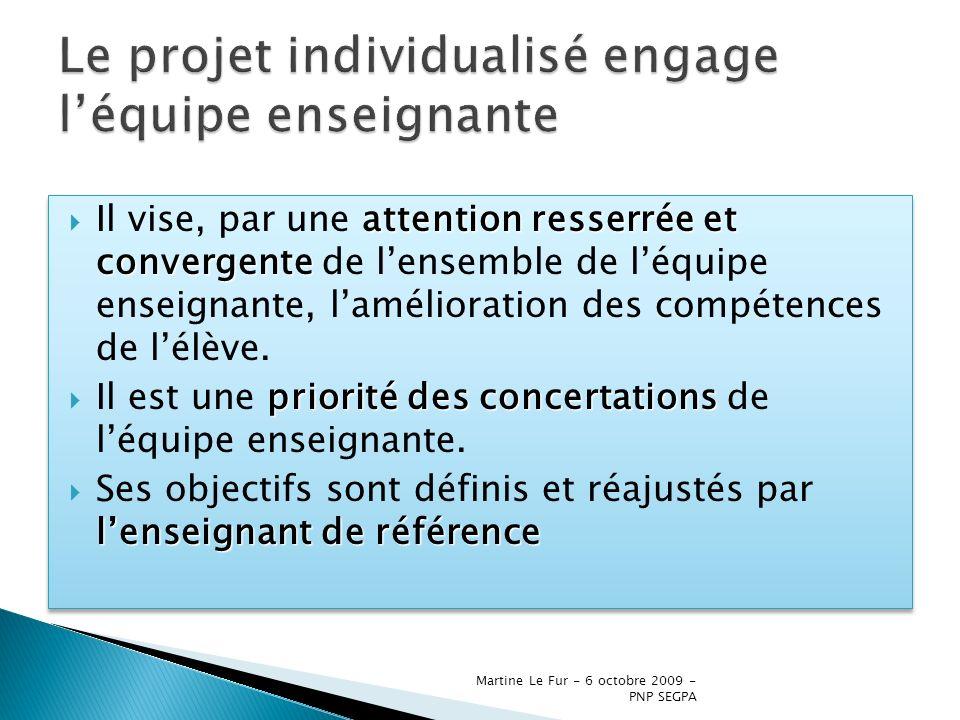 Martine Le Fur - 6 octobre 2009 - PNP SEGPA une attention toute particulière … on accordera une attention toute particulière aux projets élaborés pour les élèves qui, à lentrée en SEGPA, ne maîtrisent pas toutes les connaissances et compétences du palier 1 du socle commun.