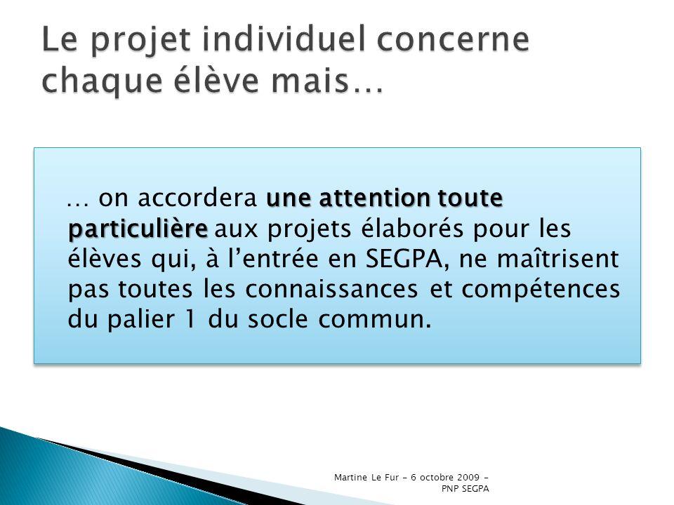 Martine Le Fur - 6 octobre 2009 - PNP SEGPA tout au long de leur cursus Les élèves de SEGPA bénéficient, tout au long de leur cursus, dun suivi individualisé dans le cadre du projet individuel de formation.