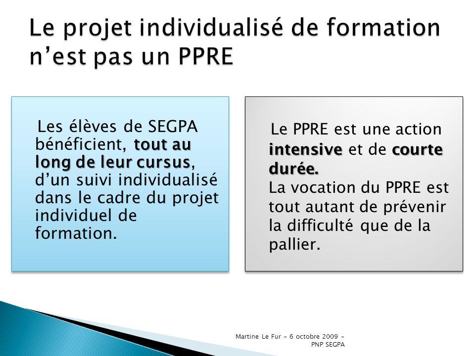 Martine Le Fur - 6 octobre 2009 - PNP SEGPA tout au long de leur cursus Les élèves de SEGPA bénéficient, tout au long de leur cursus, dun suivi indivi