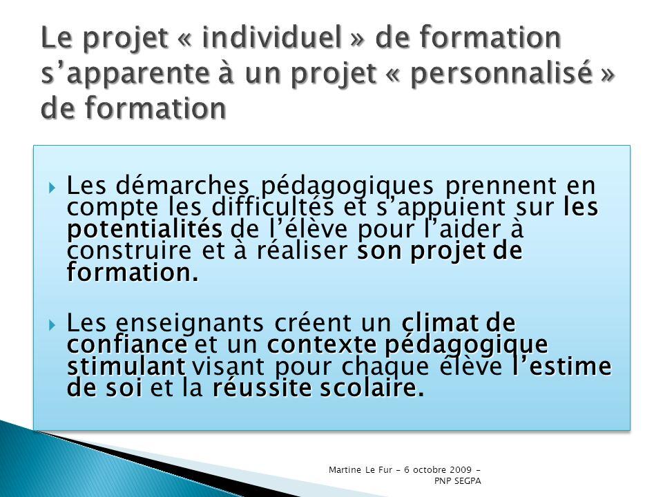 Martine Le Fur - 6 octobre 2009 - PNP SEGPA les potentialités son projet de formation. Les démarches pédagogiques prennent en compte les difficultés e