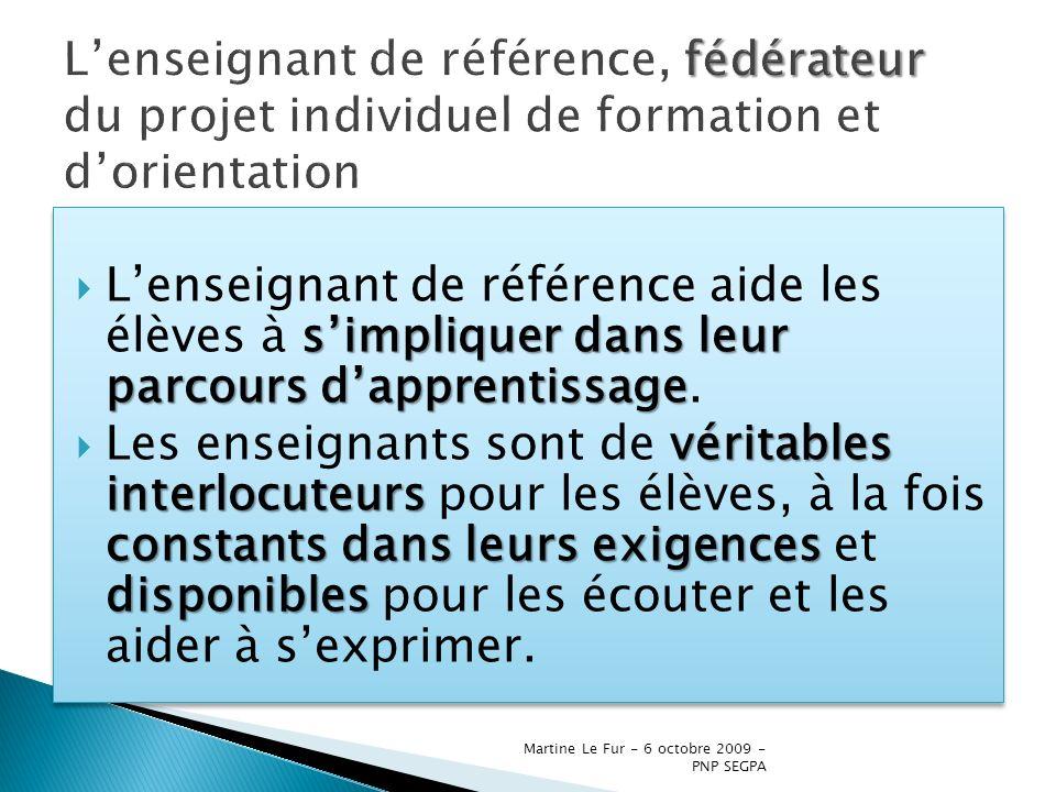 Martine Le Fur - 6 octobre 2009 - PNP SEGPA simpliquer dans leur parcours dapprentissage Lenseignant de référence aide les élèves à simpliquer dans le